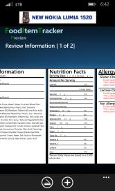Food Item Tracker for Windows Phone